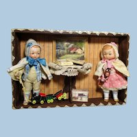 """Two sweet 5"""" (Swivel head) All Bisque Brother & Sister dolls in Toy Room Box"""