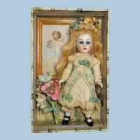"""Sweet 41/2"""" All Bisque (Glass eyes, swivel head) Mignonette doll in box"""