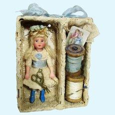 """Tiny 2 3/4"""" Miniature OOAK Art Dollhouse doll in display box"""