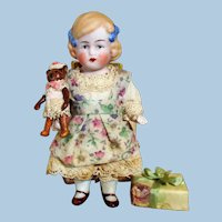 """Lovely 4"""" All Bisque Miniature dollhouse doll & Mini kitten toy"""