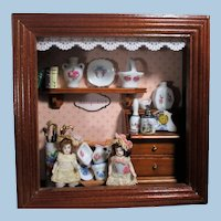 """Two Tiny All Bisque 2"""" Miniature Dollhouse Sister Dolls in Reutter Porzellan ( China Room) Room Box"""