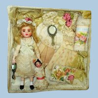 """Sweet 3 3/4"""" Miniature Ooak Dollhouse doll with 1 3/4"""" dolly in display box"""