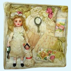 """Sweet 3 3/4"""" Miniature Ooak Dollhouse doll with 1 3/4"""" dolly in presentation/display box"""