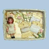 """Tiny 1 3/4"""" Miniature OOAK Dollhouse doll in Sew Box Display"""
