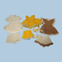 Tiny hand made Crochet Dress and panties for Mini all bisque Antique German, French/ Mignonette / Doll house dolls