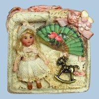 "Tiny 1 1/2"" Miniature OOAK Artist Dollhouse doll in keepsake box"