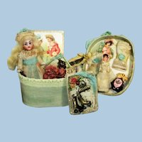 """So sweet ( Pixie like) 31/2"""" All Bisque ( Glass eyes, swivel head) Mignonette dollhouse doll and Dolly in box of accessories"""