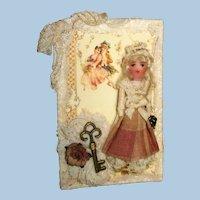 "Tiny  2 1/4"" OOAK Dollhouse doll on keepsake Ornament Card"