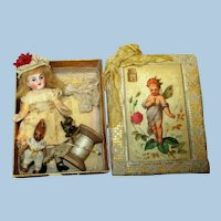 """Mini 31/2"""" Bisque (Swivel) Head, ( Composition body) with tiny ooak Rabbit and Box"""