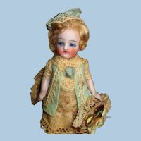 """Gorgeous 4"""" All bisque ( Fairy Princess) Glass eyes, swivel head Mignonette Doll"""