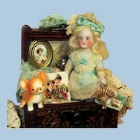 """Lovely 31/2"""" All Bisque German Miniature Dollhouse doll and puppy in trunk"""