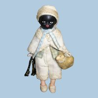 """Little 3 3/4"""" Two Faced (Bisque Swivel head) OOAK Artist Boy doll and lamb"""