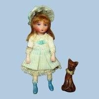"Sweet Little 3"" Miniature OOAK Artist Dollhouse doll and Kitten"