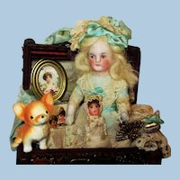 """Sweet 31/2"""" All Bisque German Mignonette doll with doll, puppy and trunk of accessories"""