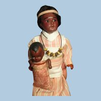 """Beautiful 8"""" Bisque head ( Glass eyes, swivel head) Native American Mother and 31/2"""" bisque Baby doll"""
