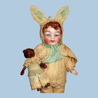 """So Cute Little 4"""" All Bisque German Baby Boy doll in bunny outfit and teddy bear"""