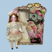 """Lovely 3"""" All bisque German Dollhouse doll in sew room Display box"""