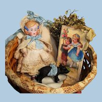 """Precious 4"""" All Bisque German Miniature Doll and Pig in mini basket"""