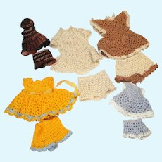"""5 sets of Tiny hand made Crochet Dress , panties and hat ( For 31/2""""-61/2"""" dolls) for Mini all bisque Antique German, French/ Mignonette / Doll house dolls"""