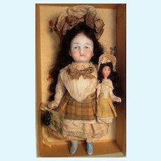 "Precious 6"" All Bisque German Mignonette and Mini OOAK dolly"