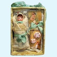 "Tiny 2 3/4"" OOAK Baby doll in mini box w/accessories"