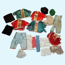 Tiny Group of assorted  antique and vintage doll outfits, dress, hats, pants and etc...