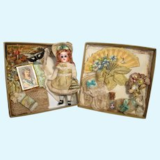 """Tiny 31/4"""" All Bisque ( Glass eyes, swivel head) Miniature Dollhouse Mignonette doll and lamb in Presentation box"""