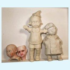 Unusual little Antique/ Vintage All Bisque white/unpainted, Pixie, Pilot boy German Dolls and heads