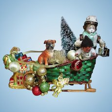 """"""" Santa's Little Helpers"""" Two little 6"""" & 3 1/2"""" Bisque Elf boys with Sled of Christmas Gifts"""