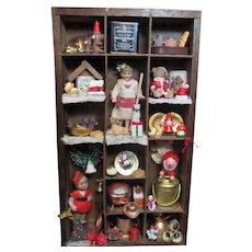 """ Christmas Nostalgia"" Shadow Box, of Antique  Miniature Dollhouse Hertwig dolls, Animals & Christmas Ornaments"