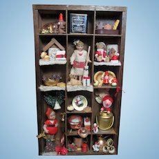 """ Christmas Nostalgia"" Shadow Box, of Antique  Miniature Dollhouse Hertwig dolls, Animals & Christmas Ornaments"