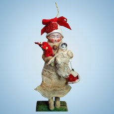 """Sweet Little 5"""" Bisque Head Poseable Miniature Doll & 1 3/4"""" China Dolly  Ornament"""