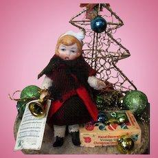 "Tiny 3 1/2"" Bisque Head (swivel neck) Miniature Dollhouse Christmas Caroler Doll & Christmas Display"