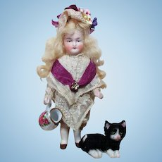 """Beautiful 5"""" All Bisque German Mignonette Lady doll & Kitten"""