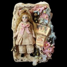 "Tiny (pocket size) 2 3/4"" All Bisque Vintage Miniature Dollhouse doll in Display box"