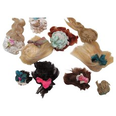"10 Mini Mohair Doll wigs for tiny 2""-4 1/2"" all bisque Antique German, French/ Mignonette / Doll house dolls"