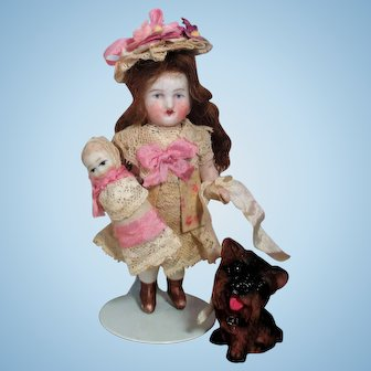 "Sweet 4"" All Bisque Miniature German Dollhouse doll Mommy,  2"" Baby  & Puppy"