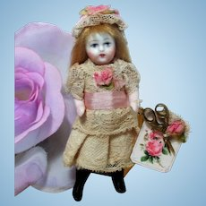 """Tiny 3"""" All Bisque Miniature Dollhouse Doll"""