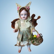 """Sweet Little 3 1/2"""" All Bisque Miniature Bunny Dollhouse doll"""