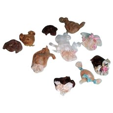 "10 Mini Mohair Doll wigs for tiny 3""-4"" all bisque Antique German, French/ Mignonette / Doll house dolls"
