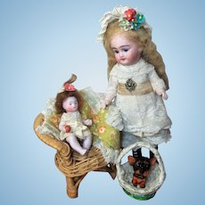 "Lovely 71/2"" All Bisque (glass eyes, swivel neck) Mignonette Doll (With Strap boots) Mini 3 1/2"" Baby Doll & Puppy"