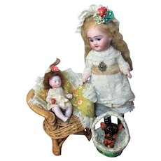 """Two Tiny 3 1/2"""" all Bisque Miniature  Dollhouse Baby Dolls In Trunk of Easter Toys"""