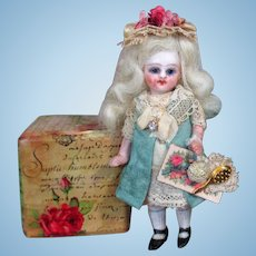 """Lovely Tiny 3 1/2"""" All Bisque (Glass eyes, Swivel neck) Pocket size Miniature Dollhouse doll"""