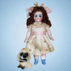 """Sweet little 4 1/2"""" All Bisque (glass eyes) Mignonette Doll with two tiny 2"""" Baby dolls & Puppy"""
