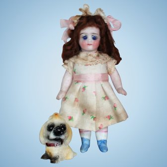 "Sweet little 4 1/2"" All Bisque (glass eyes) Mignonette Doll with two tiny 2"" Baby dolls & Puppy"