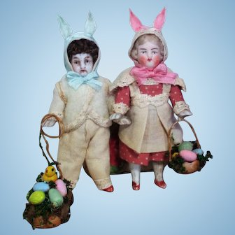 "Two Tiny 3"" all Bisque Miniature Easter Dollhouse Dolls in Bunny Outfits"
