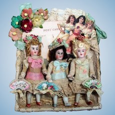 """ Flower Sisters"" Three Tiny 3"" All Bisque Pocket size Dollhouse doll sisters in Keepsake box"