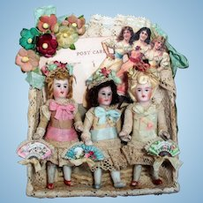 """"""" Flower Sisters"""" Three Tiny 3"""" All Bisque Pocket size Dollhouse doll sisters in Keepsake box"""