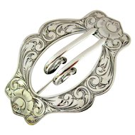 Victorian Sterling Silver Buckle Sash Brooch/Pin - Herbst & Wassall