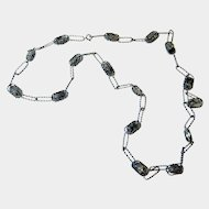 Rare Arts and Crafts Hand Crafted Sterling Barley Sugar Twist Link and Tourmalinated Quartz Necklace